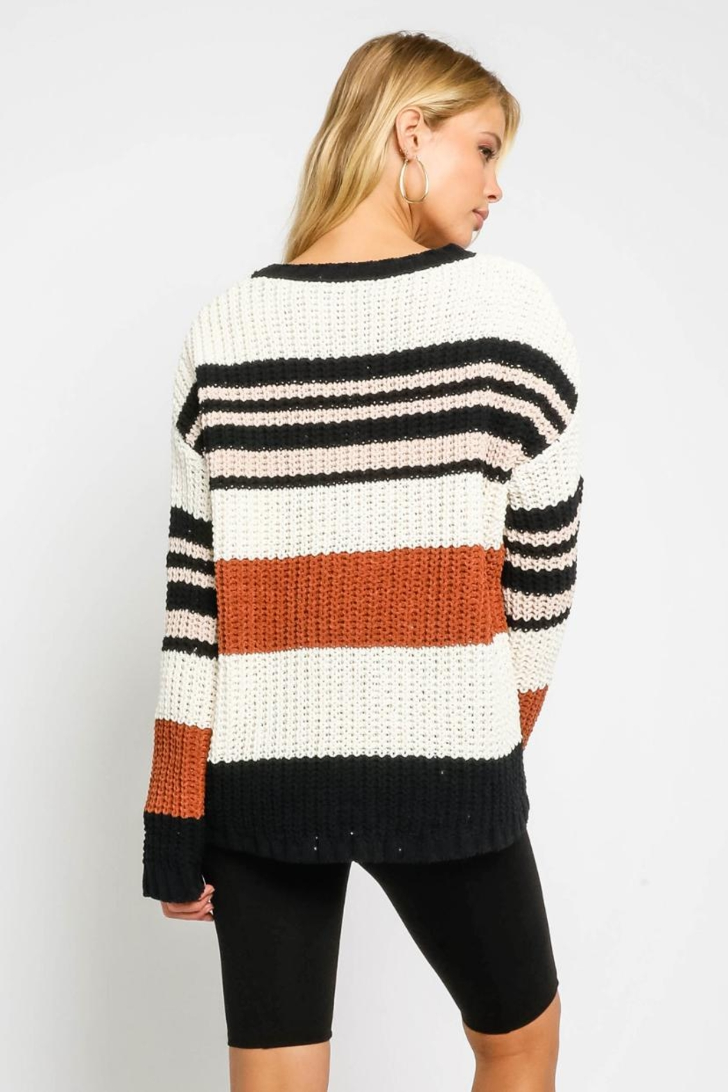 Olivaceous Multicolor Striped Sweater - Front Full Image