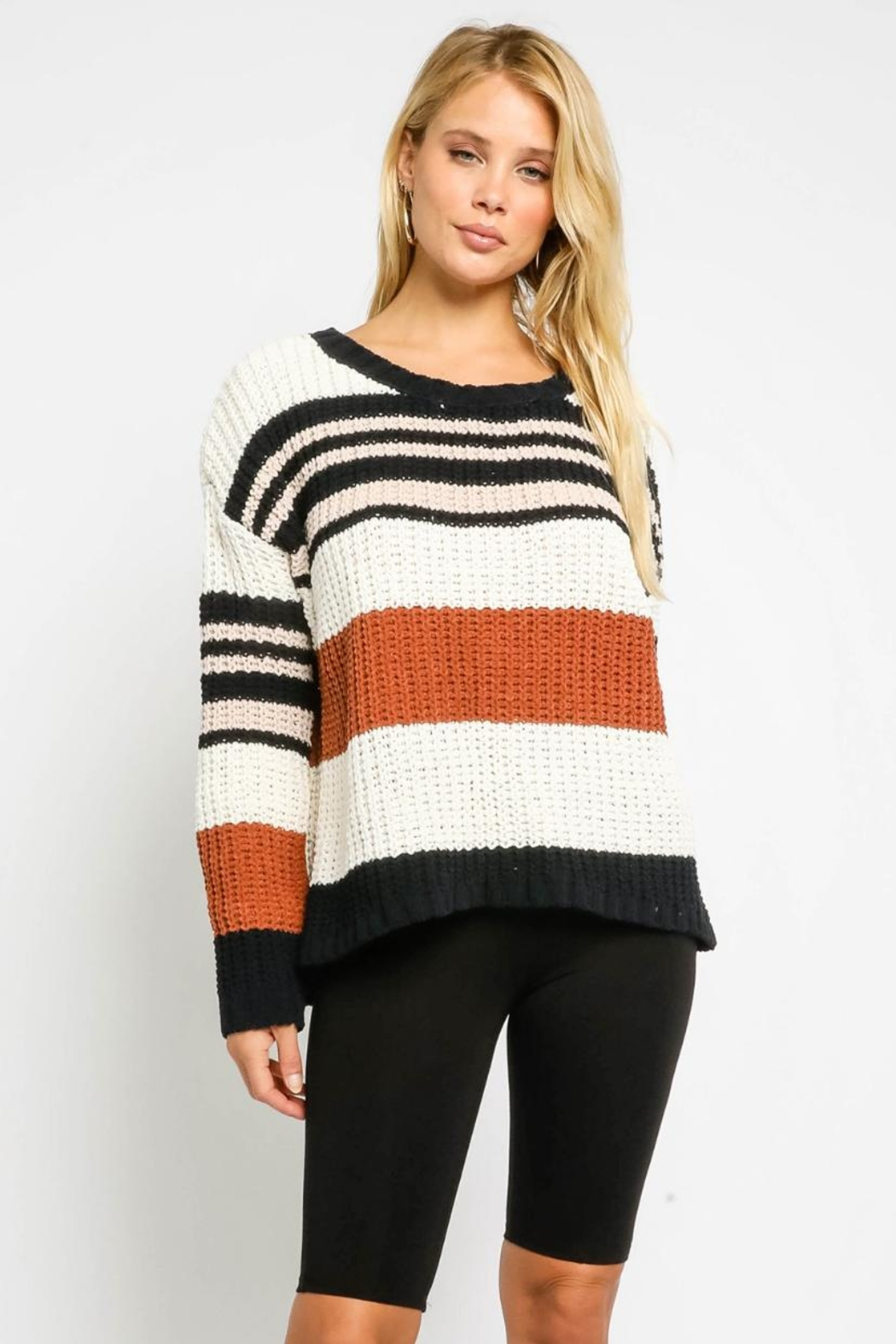 Olivaceous Multicolor Striped Sweater - Main Image