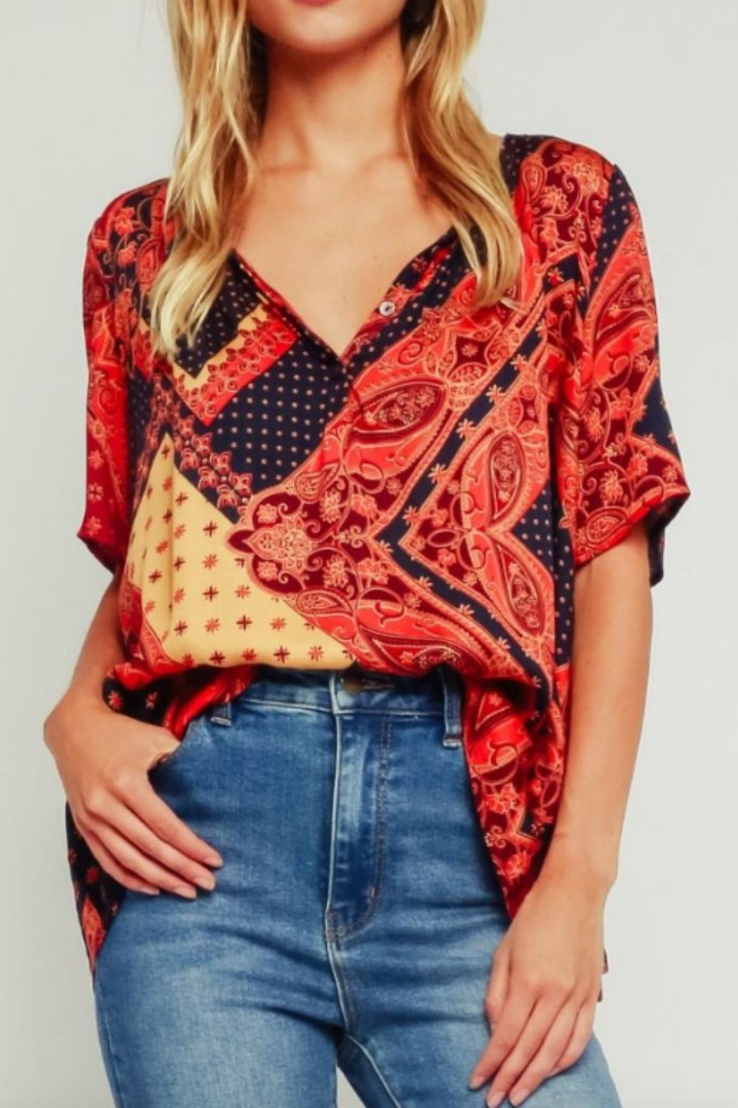 Olivaceous Multicolored Tapestry Blouse - Main Image
