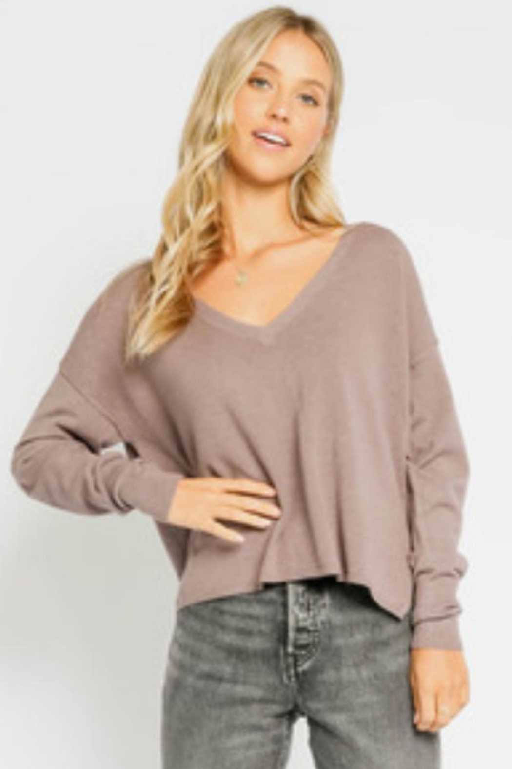 Olivaceous Mushroom Sweater Top - Main Image