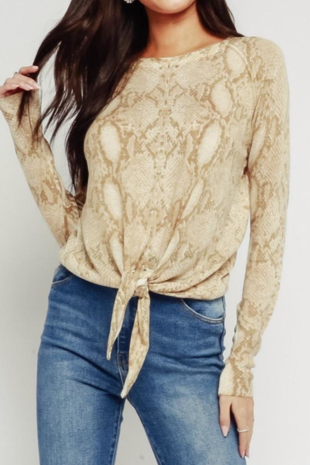 Olivaceous Natural Snake Sweater - Main Image