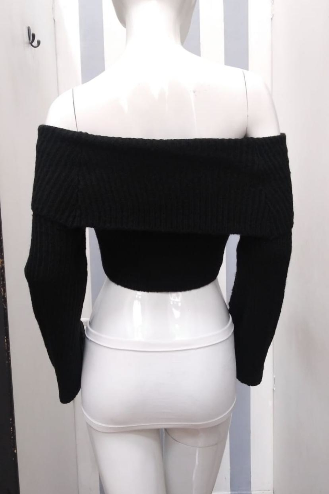Olivaceous Off-Shoulder Cropped Sweater - Front Full Image
