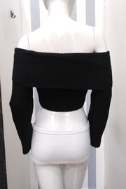 Olivaceous Off-Shoulder Cropped Sweater - Front full body