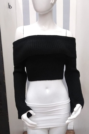Olivaceous Off-Shoulder Cropped Sweater - Front cropped