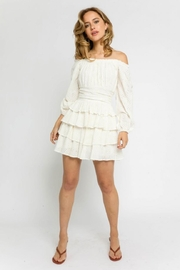 Olivaceous Off-Shoulder Eyelet Dress - Product Mini Image