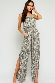 Olivaceous Off-Shoulder Snake-Skin Jumpsuit - Product Mini Image