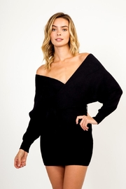 Olivaceous Off-Shoulder Sweater Dress - Product Mini Image