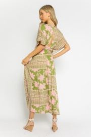 Olivaceous Olive-Pink Floral Dress - Front full body