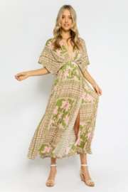 Olivaceous Olive-Pink Floral Dress - Product Mini Image