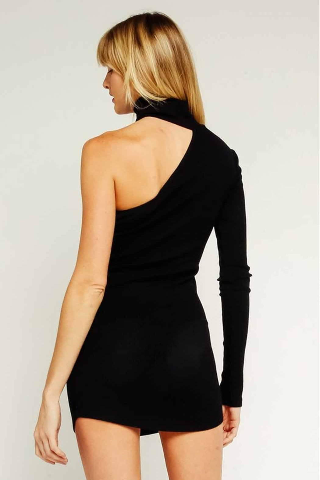 Olivaceous One-Shoulder Bodycon Dress - Back Cropped Image