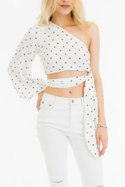 Olivaceous One-Shoulder Polkadot Top - Product Mini Image