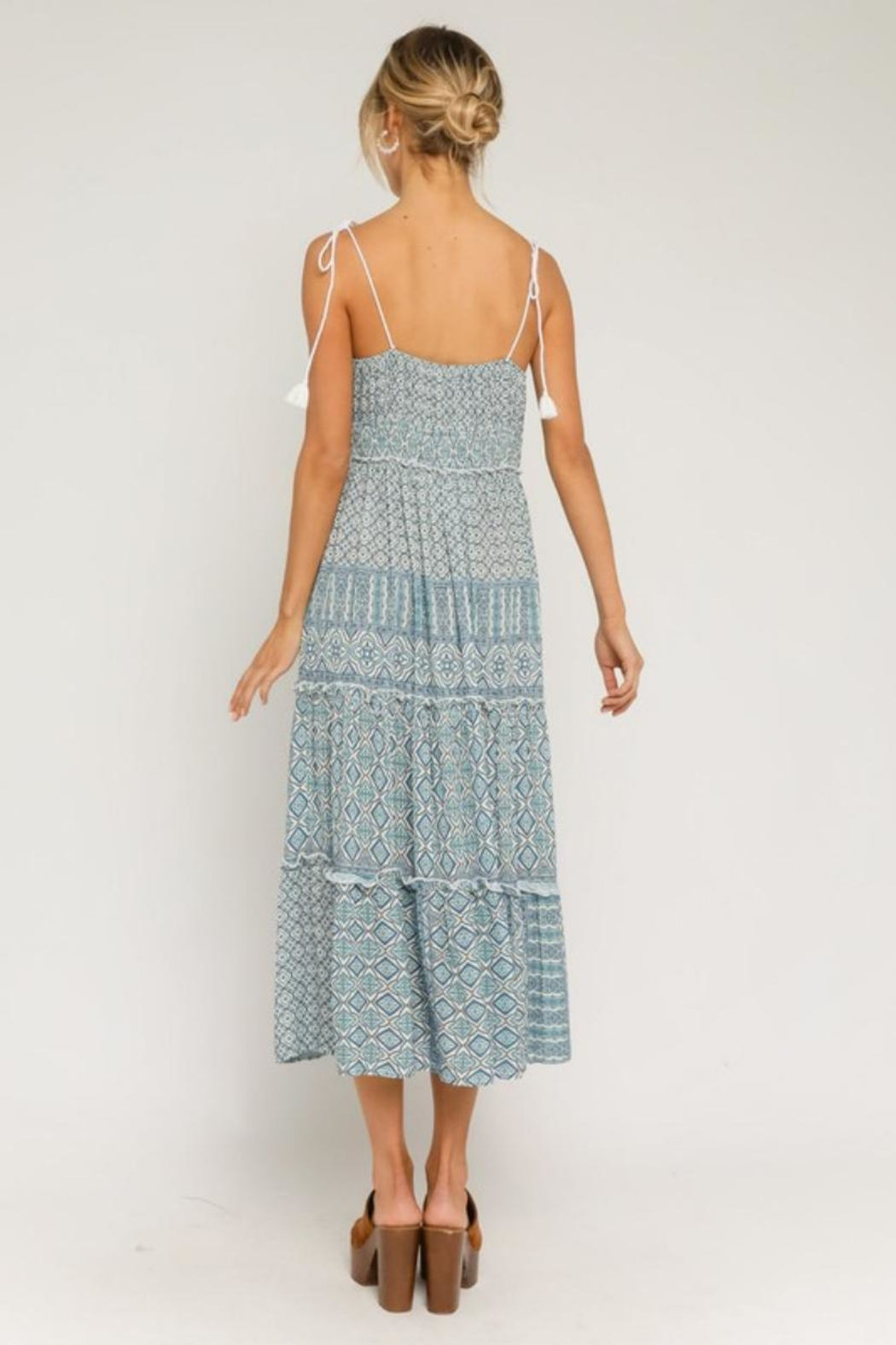 Olivaceous Paisley Print Midi - Front Full Image