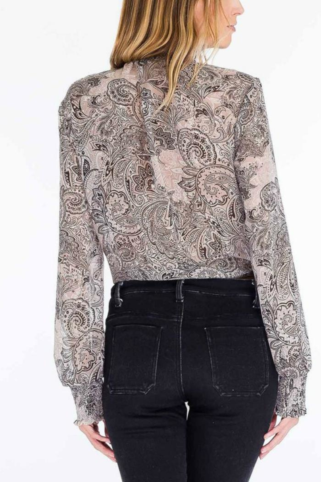 Olivaceous Paisley Tie Top - Front Full Image