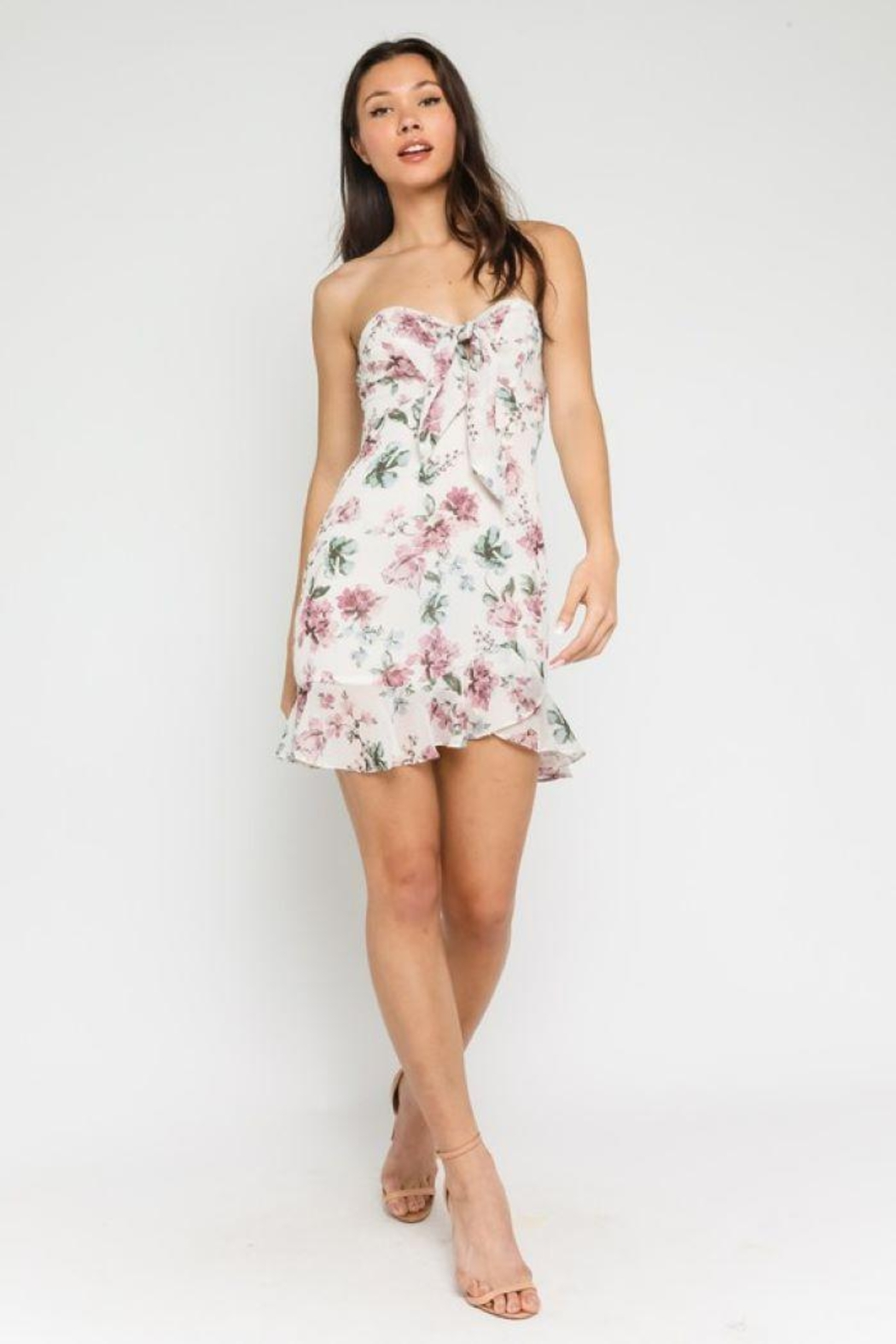 Olivaceous Pastel Floral Sweetheart Dress - Front Full Image