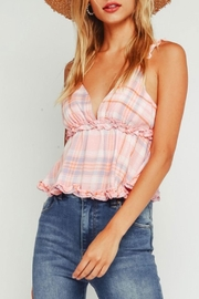 Olivaceous Plaid Ruffle Top - Product Mini Image