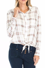 Olivaceous Plaid Tie Top - Front cropped