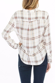 Olivaceous Plaid Tie Top - Front full body