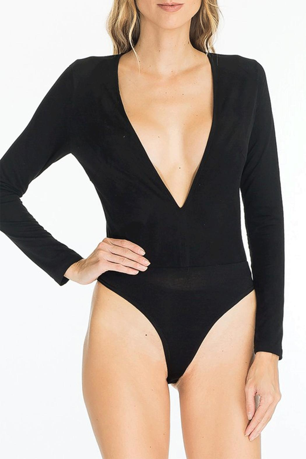 Olivaceous Plunge Bodysuit - Front Cropped Image