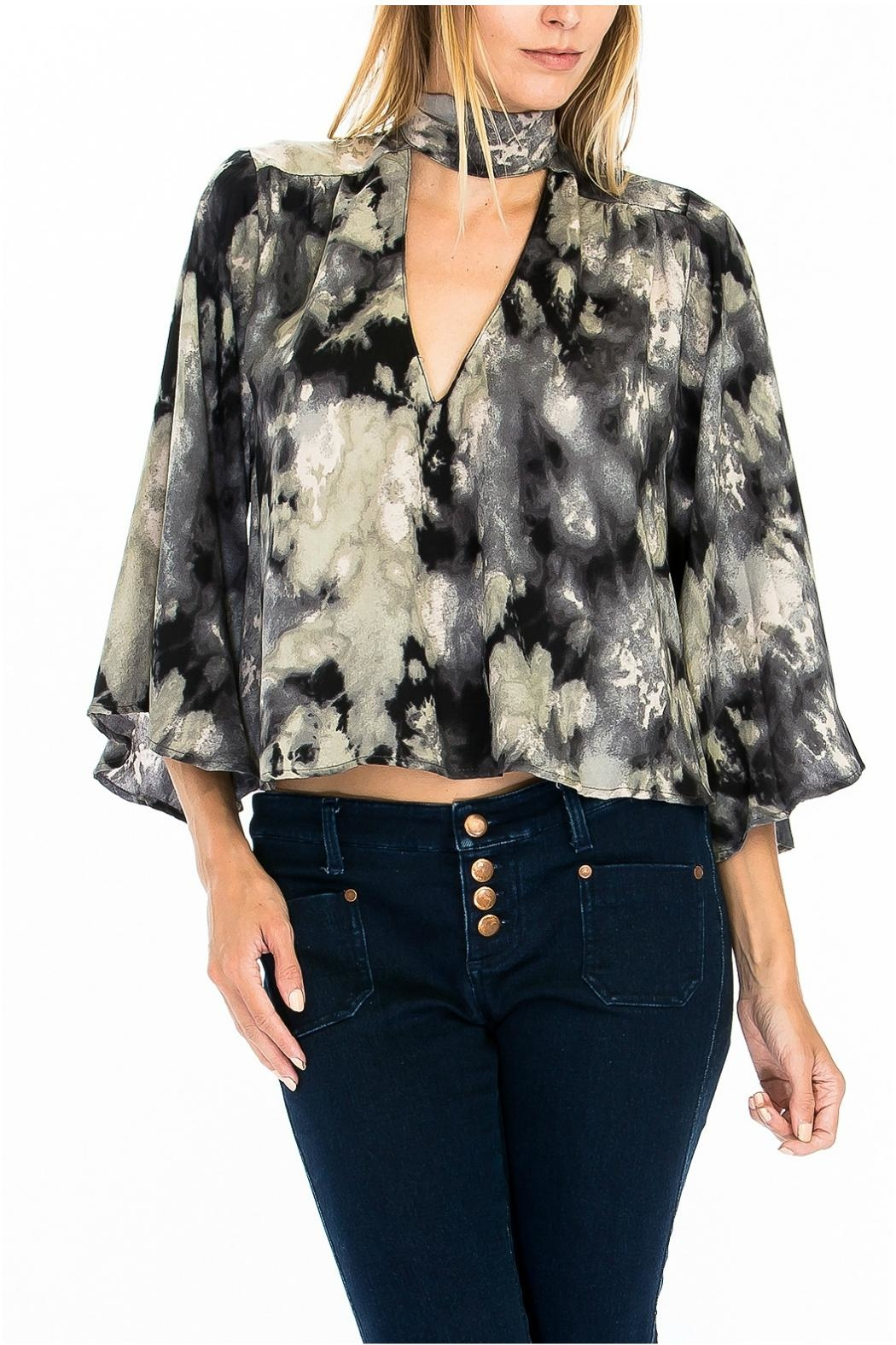 Olivaceous Print Choker Blouse - Front Cropped Image