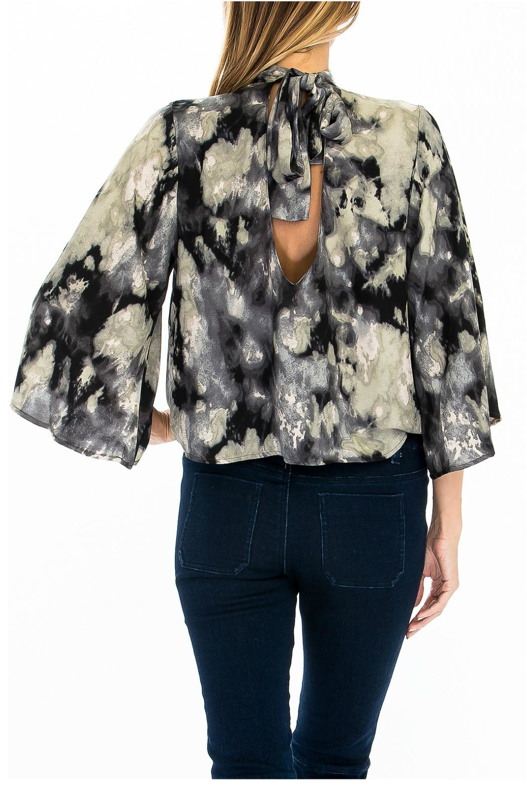 Olivaceous Print Choker Blouse - Back Cropped Image