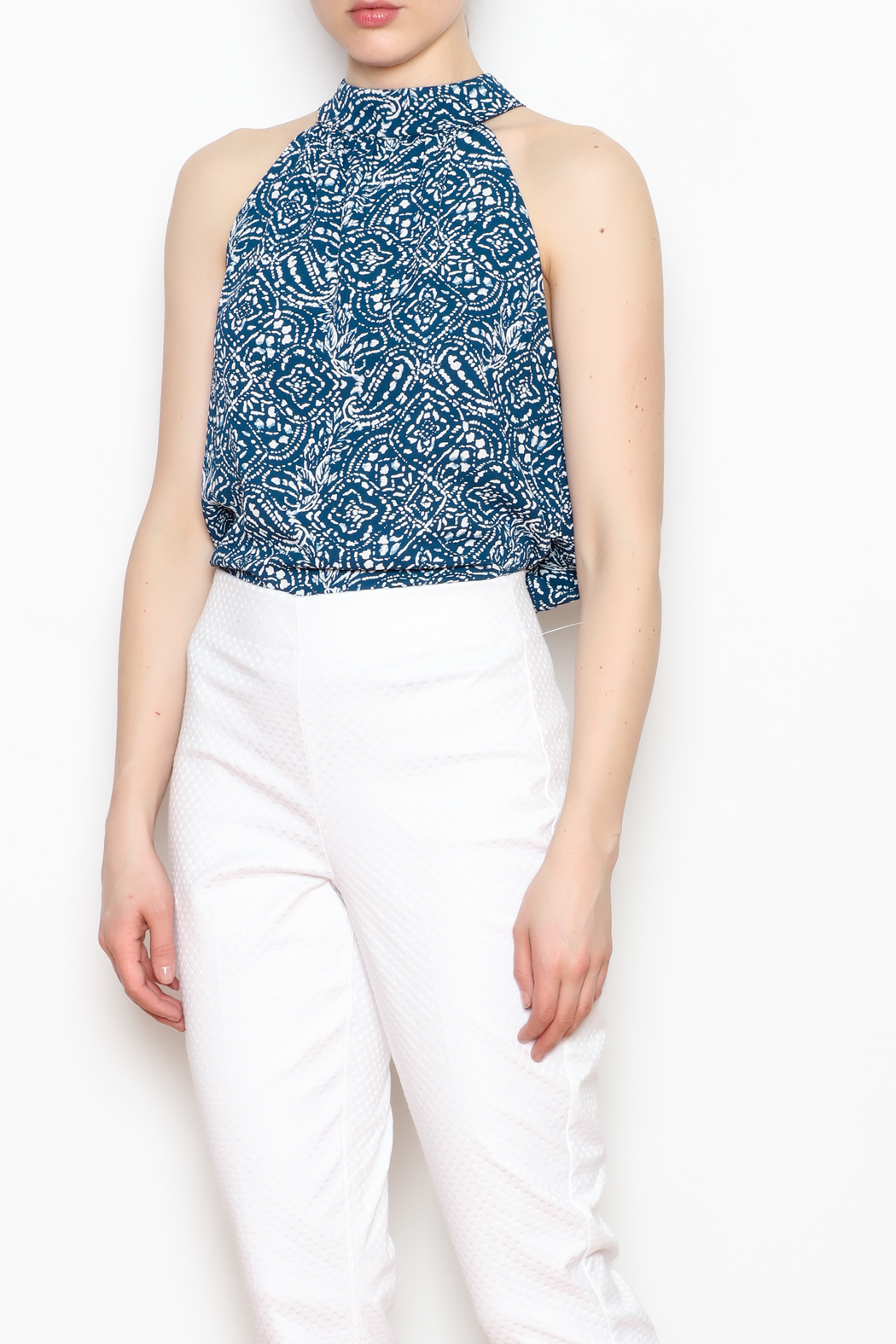 Olivaceous Halter Neck Printed Blouse - Front Full Image