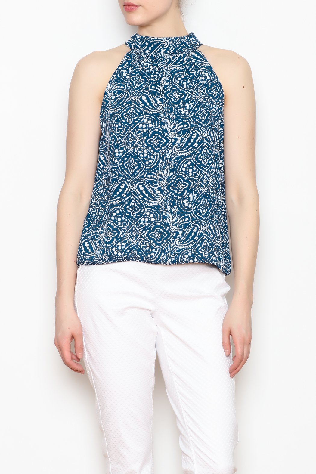 Olivaceous Halter Neck Printed Blouse - Main Image