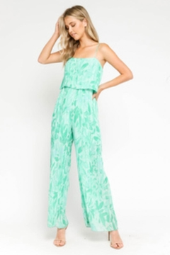 Olivaceous Printed Pleated Jumpsuit - Product List Image