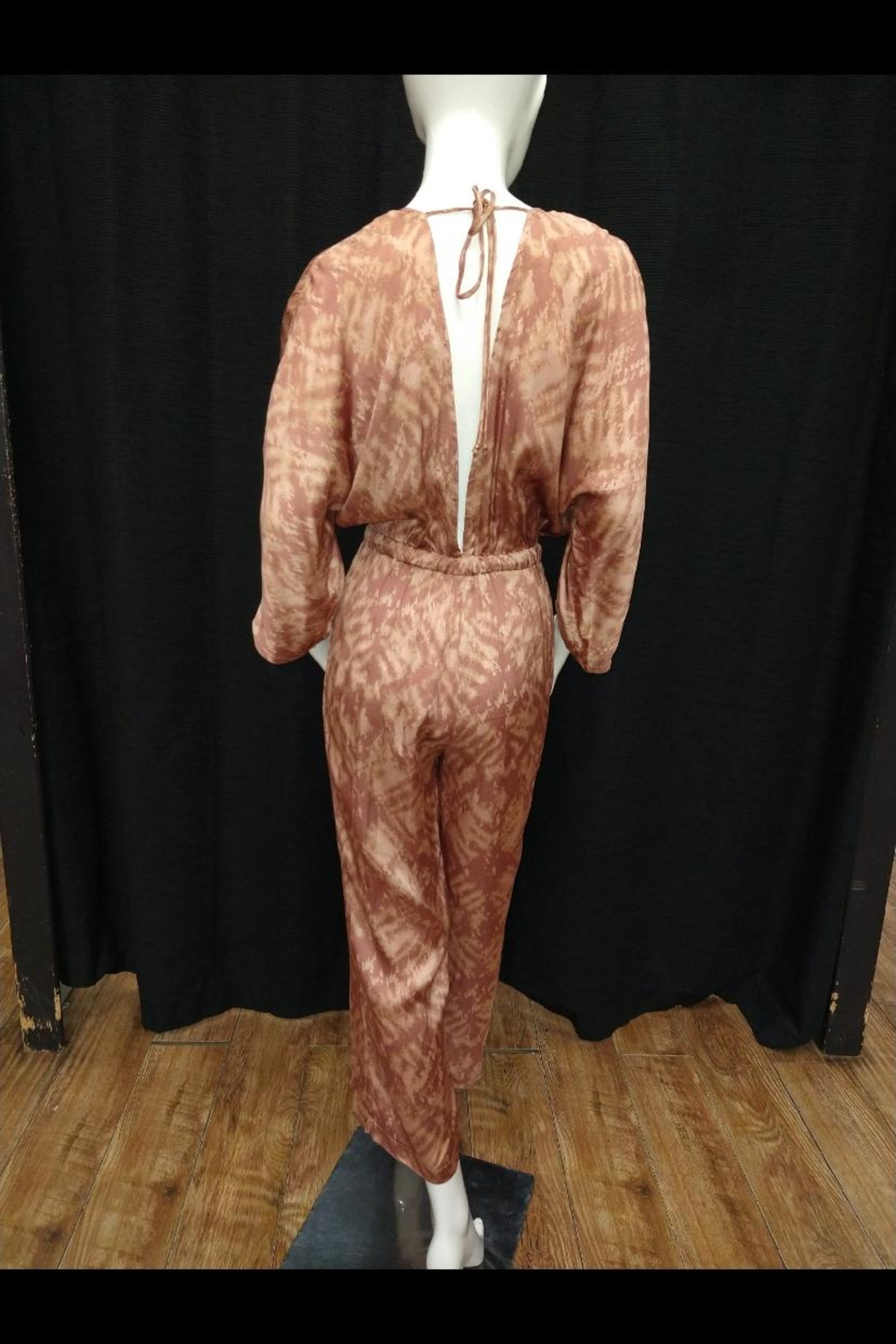 Olivaceous Printed Satin Jumpsuit - Front Full Image