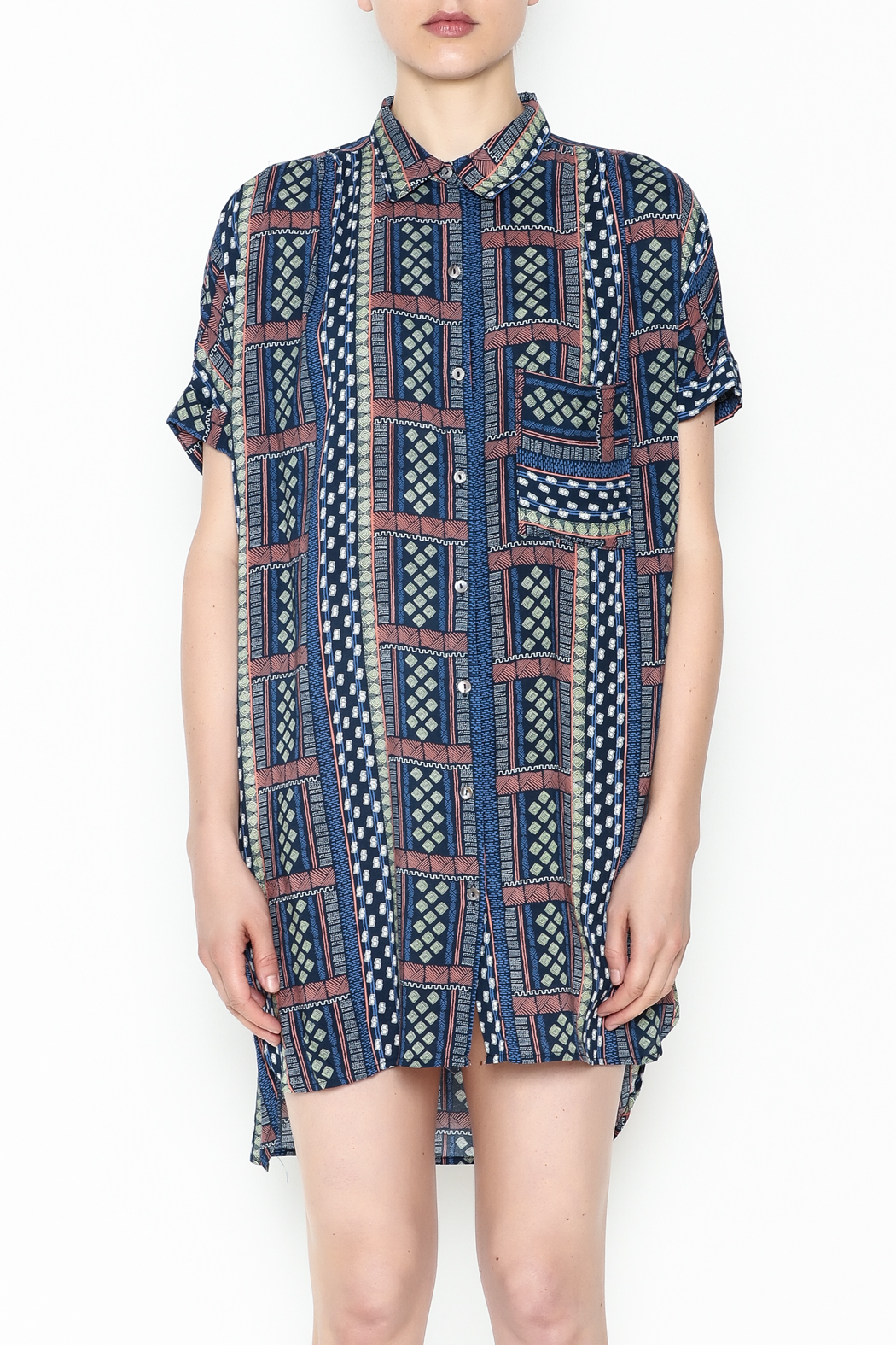 Olivaceous Printed Shirt Dress - Front Full Image