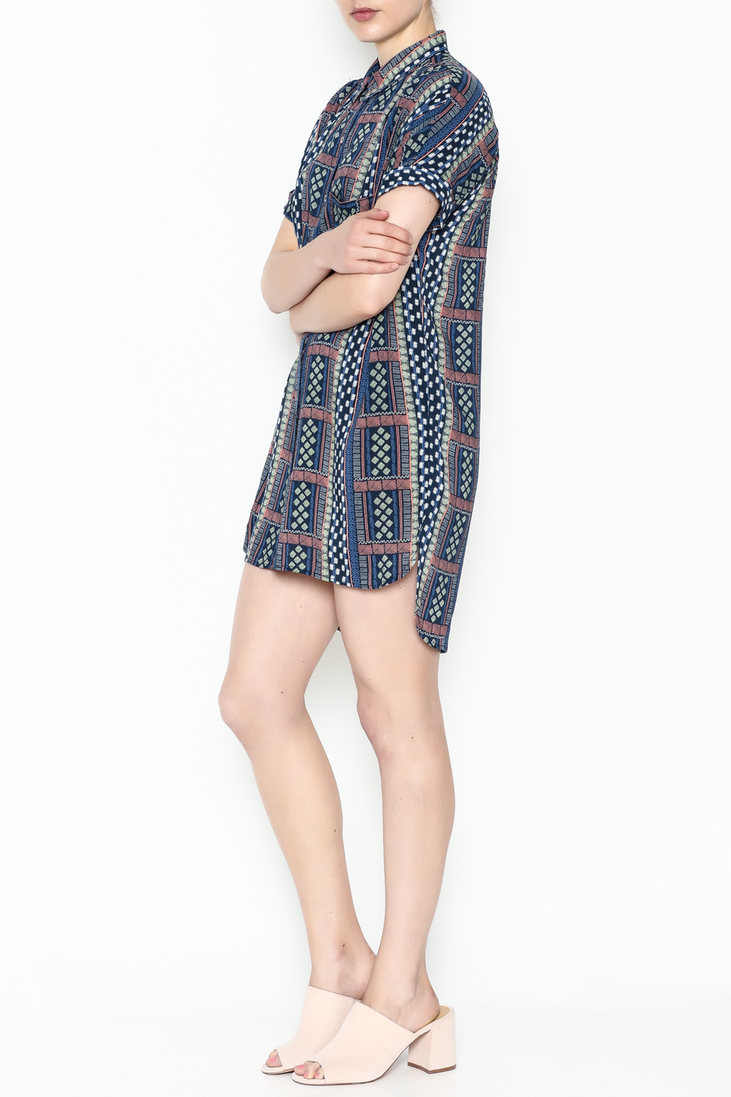 Olivaceous Printed Shirt Dress - Side Cropped Image