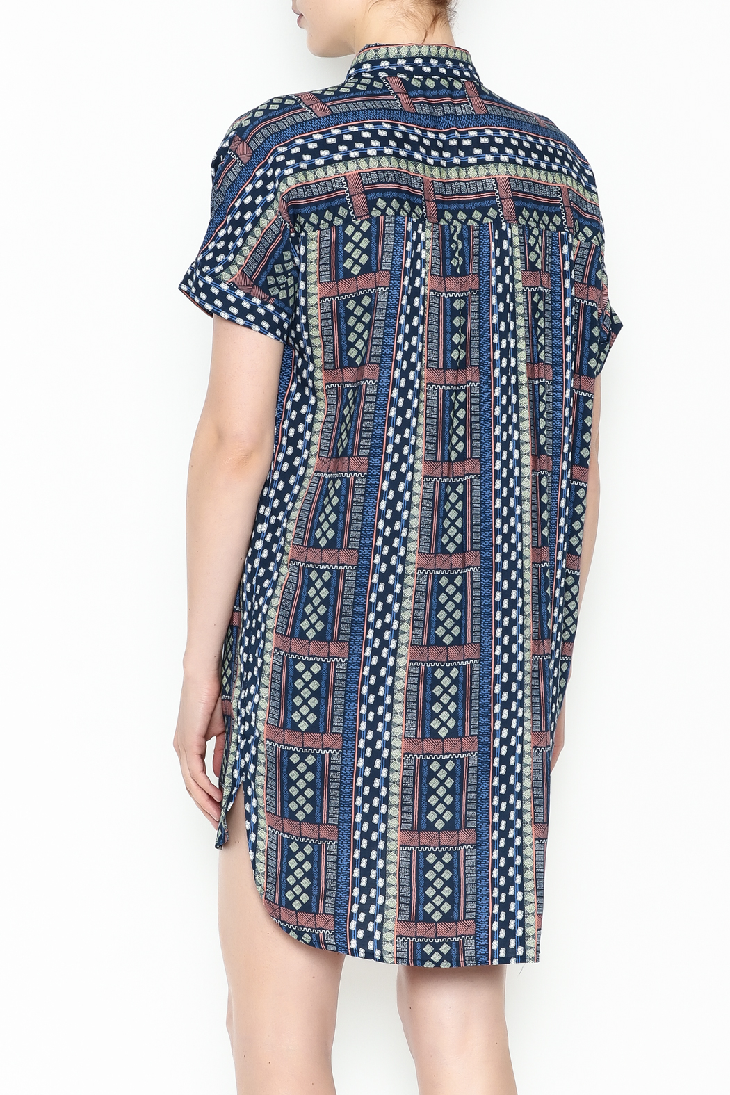 Olivaceous Printed Shirt Dress - Back Cropped Image