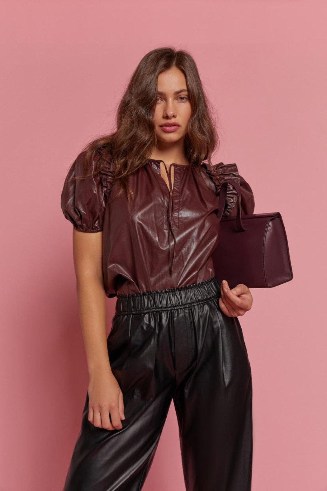 Olivaceous Pu Leather Top - Main Image