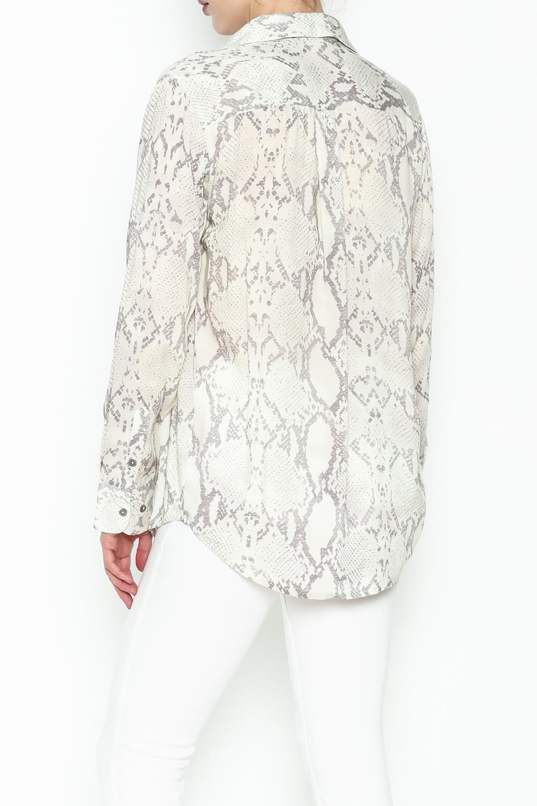 Olivaceous Python Lace Up Top - Back Cropped Image