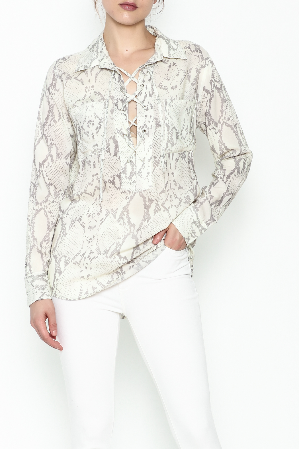 Olivaceous Python Lace Up Top - Main Image