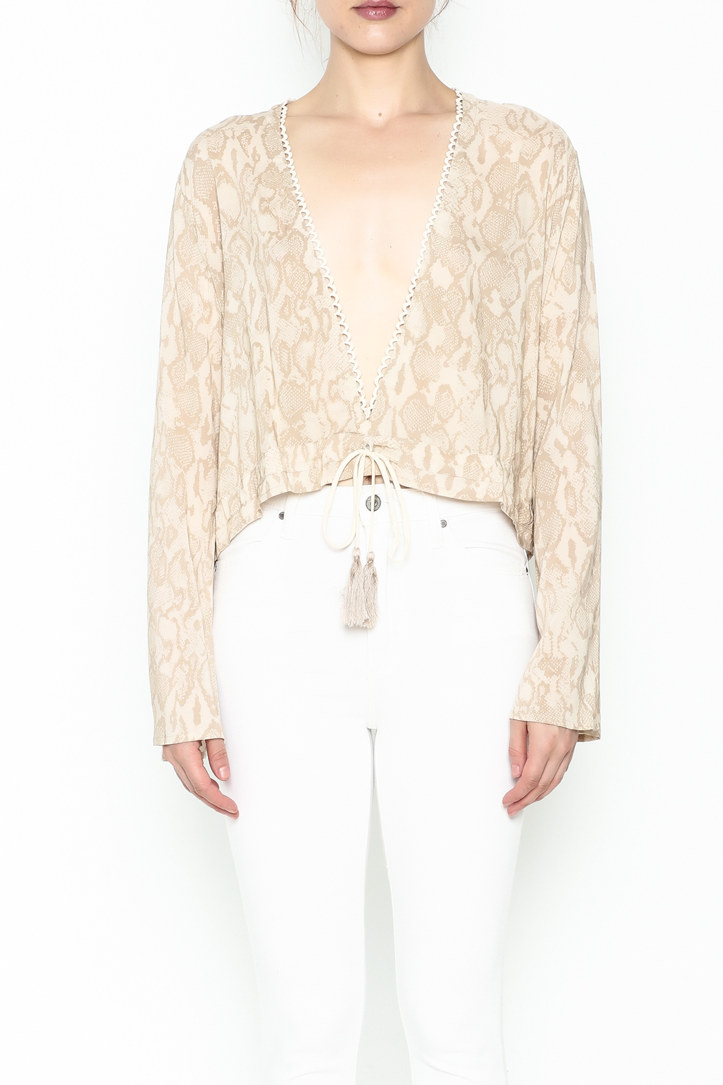 Olivaceous Python Plunge Top - Front Full Image