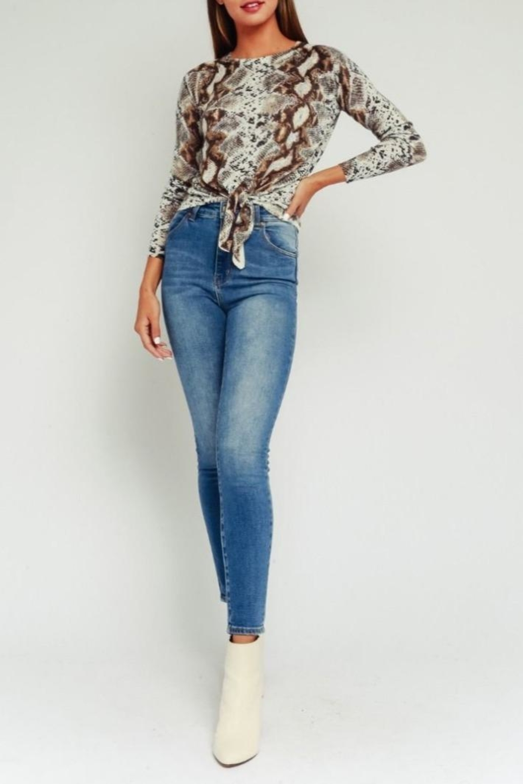 Olivaceous Python Print Sweater - Back Cropped Image