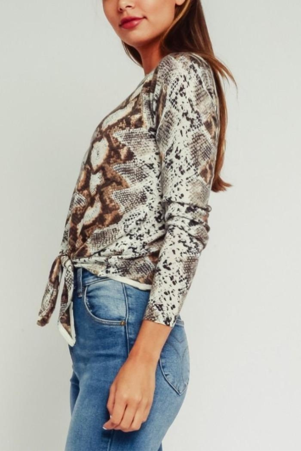 Olivaceous Python Print Sweater - Front Full Image