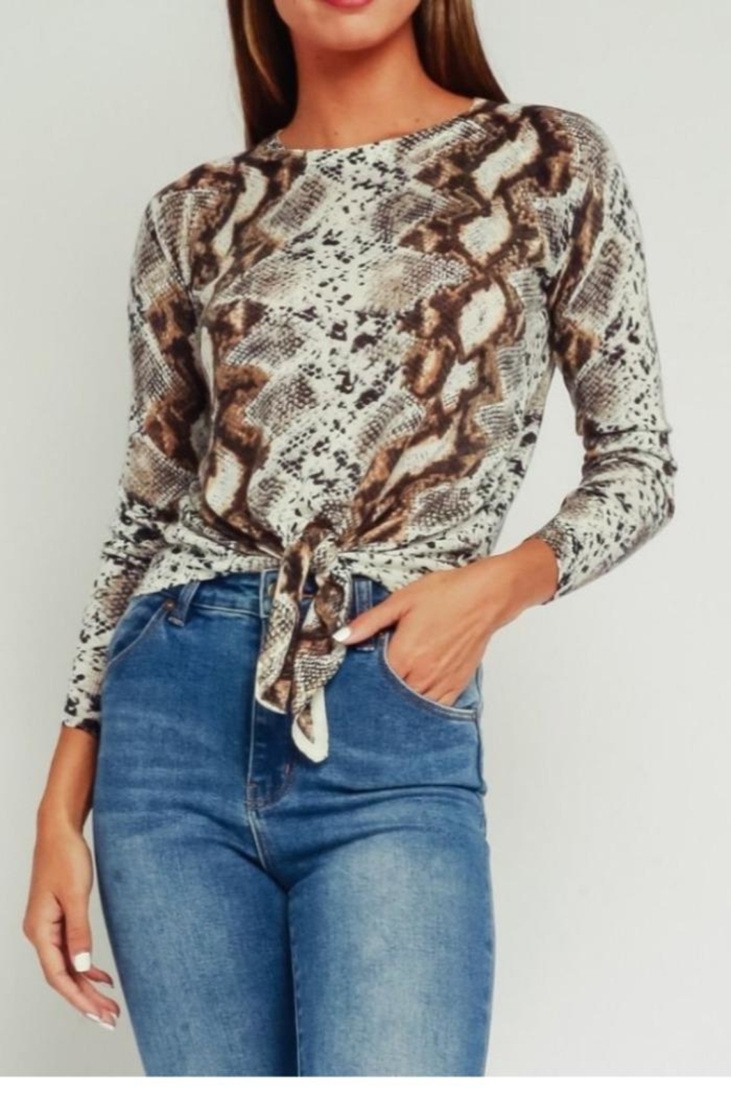 Olivaceous Python Print Sweater - Main Image