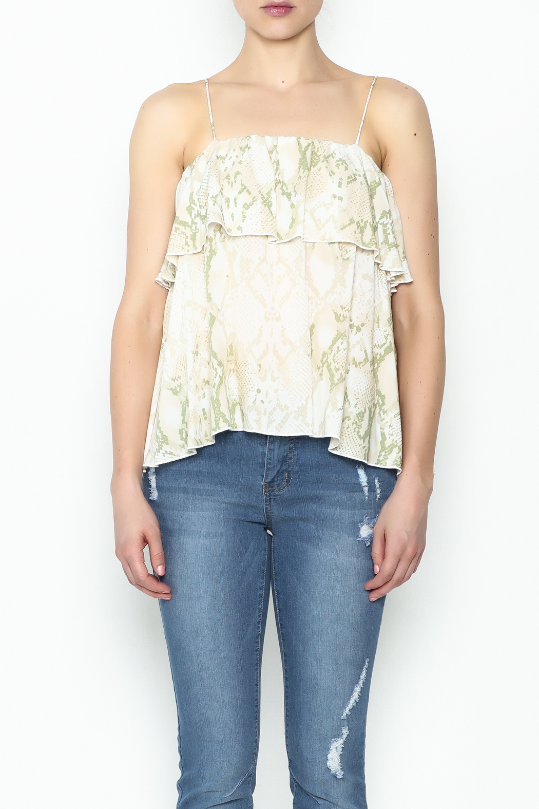 Olivaceous Python Ruffle Tank - Front Full Image