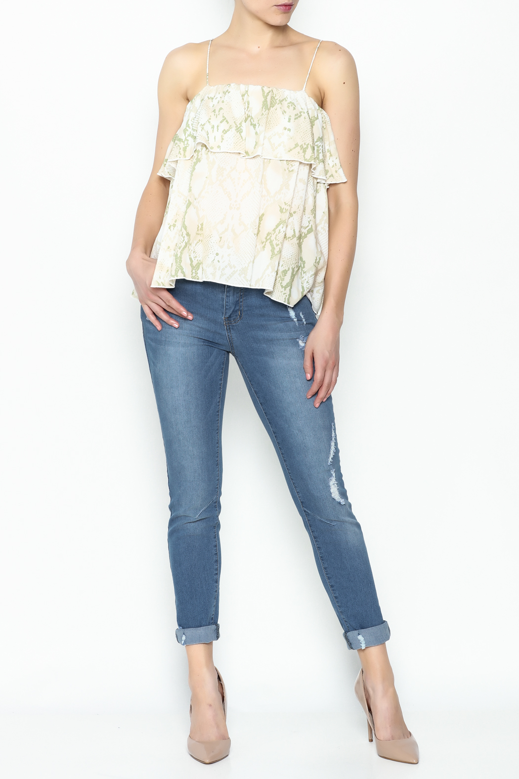 Olivaceous Python Ruffle Tank - Side Cropped Image