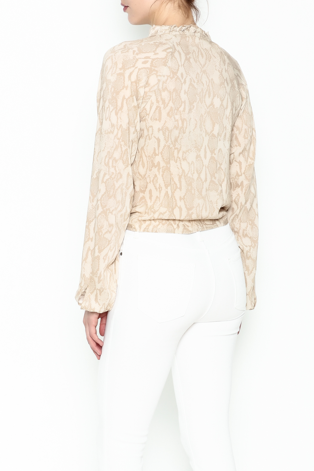 Olivaceous Python Tie Waist Top - Back Cropped Image