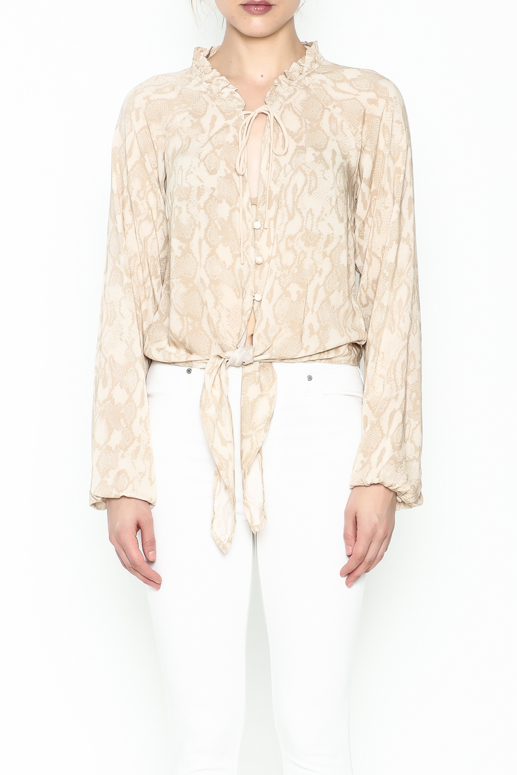 Olivaceous Python Tie Waist Top - Front Full Image