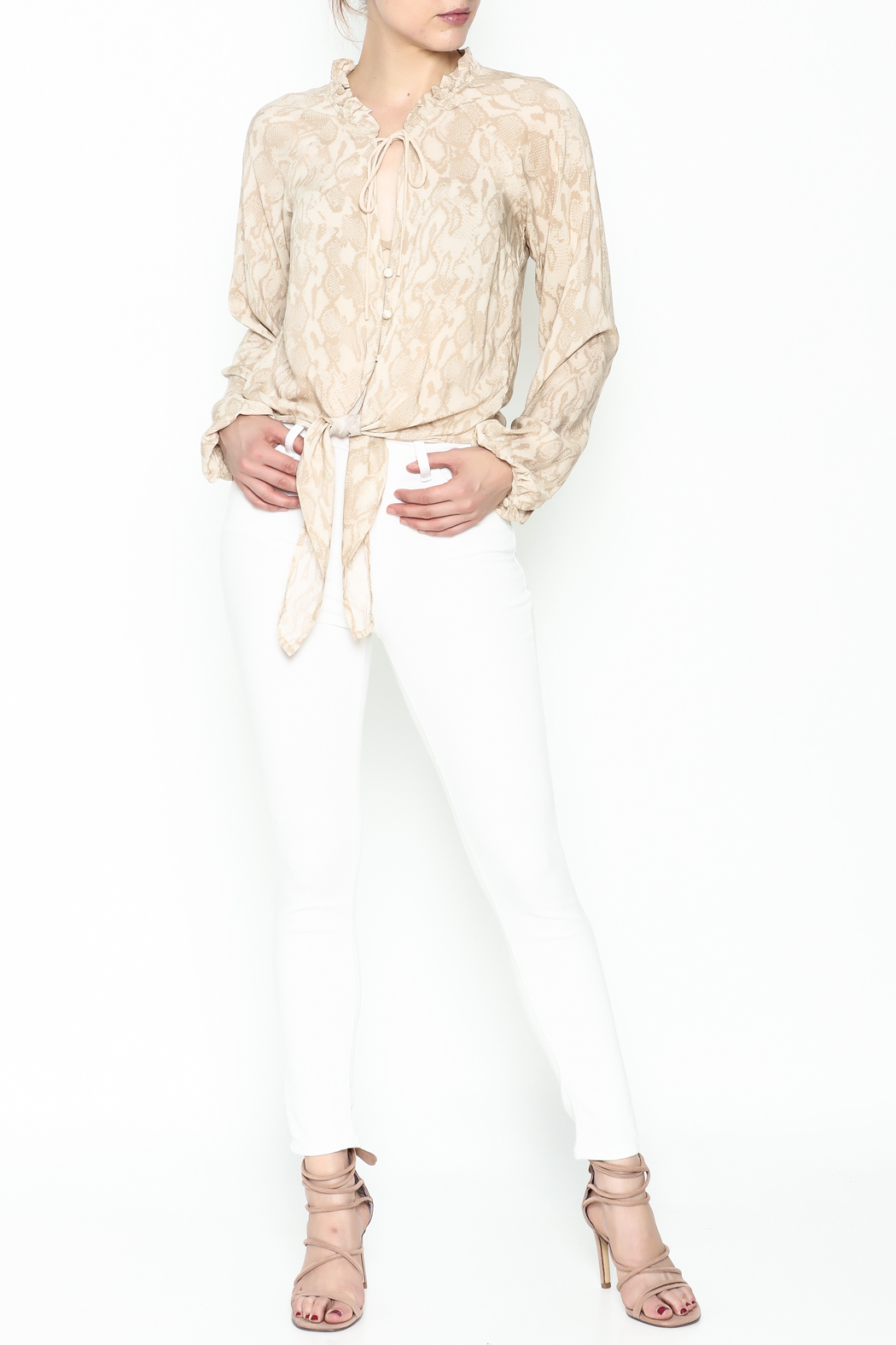 Olivaceous Python Tie Waist Top - Side Cropped Image