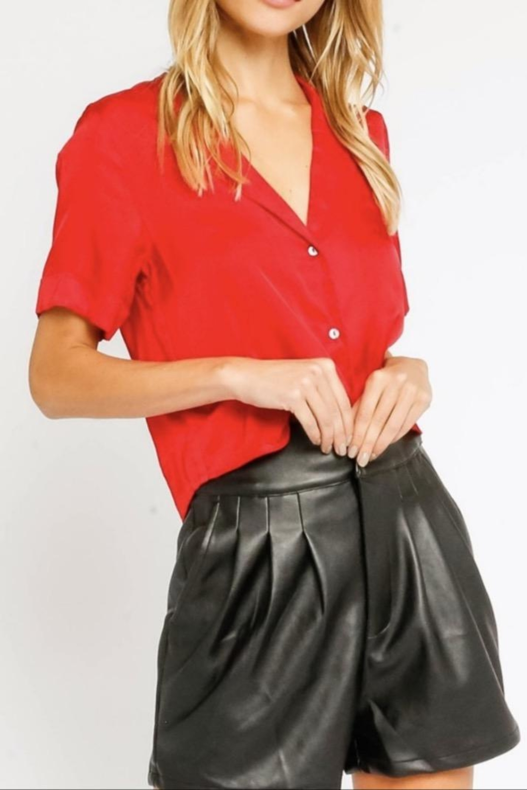 Olivaceous Red Silky Blouse - Main Image