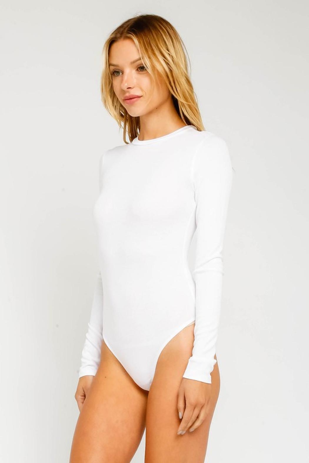 Olivaceous Ribbed White Bodysuit - Front Full Image