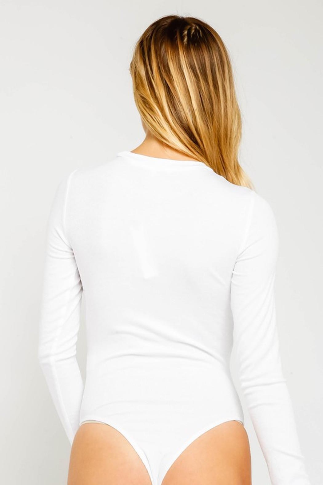 Olivaceous Ribbed White Bodysuit - Side Cropped Image