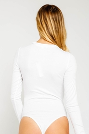 Olivaceous Ribbed White Bodysuit - Side cropped