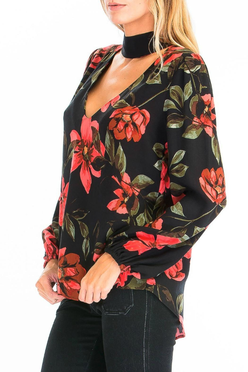 Olivaceous Rose Choker Blouse - Side Cropped Image