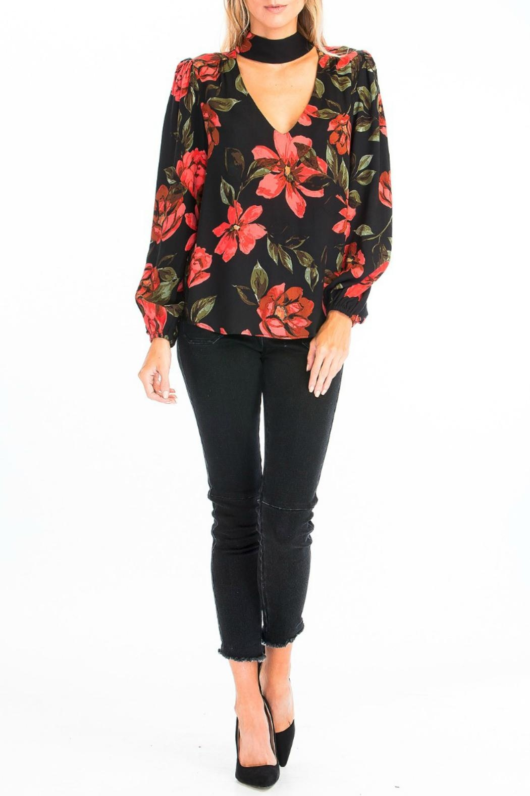 Olivaceous Rose Choker Blouse - Front Full Image