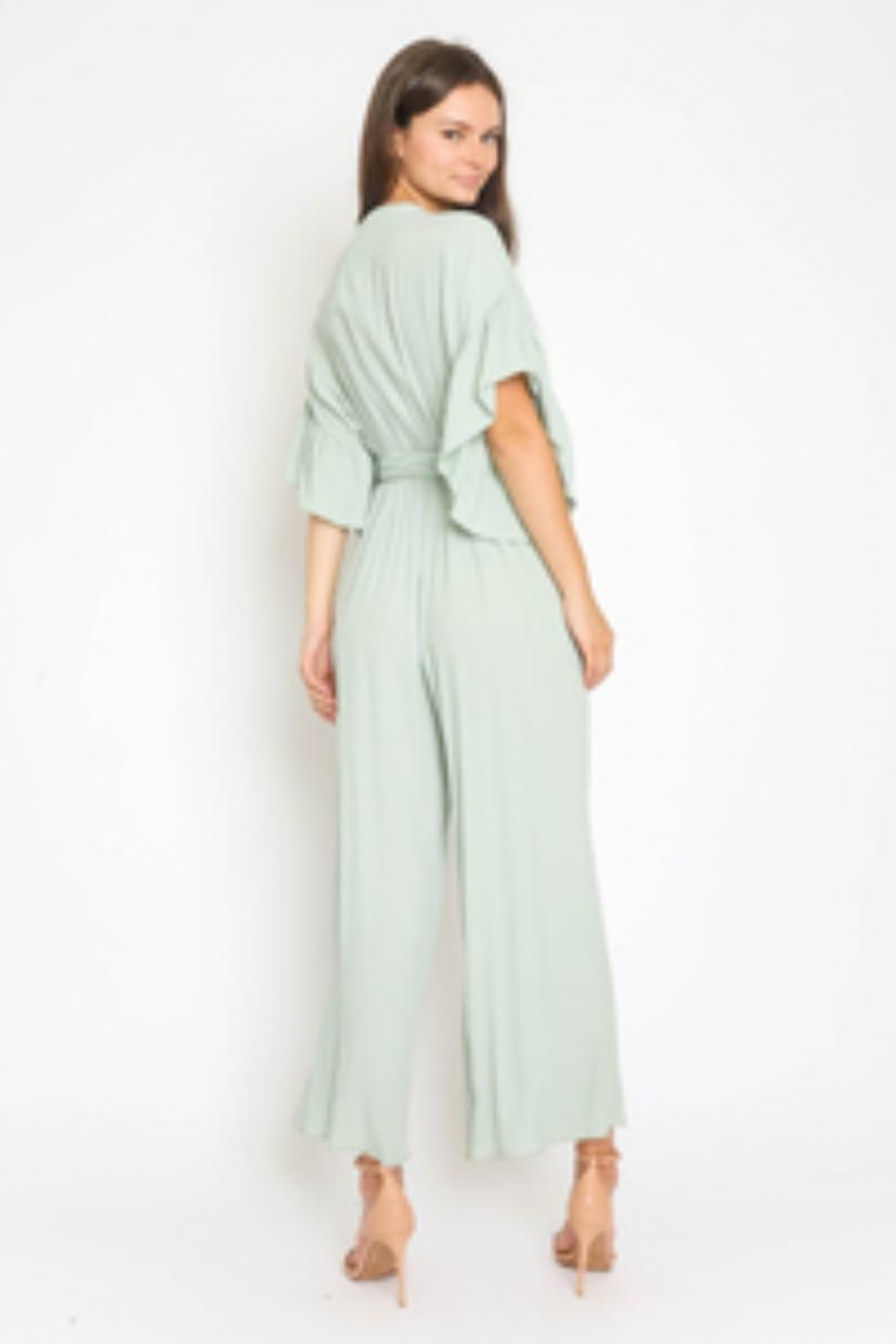 Olivaceous Ruffle Sleeve Jumpsuit - Front Full Image